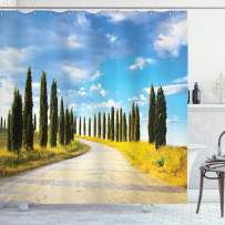 """Ambesonne Italian Shower Curtain, View of Earth Road Path Between Trees Row in Mediterranean Historic Culture, Cloth Fabric Bathroom Decor Set with Hooks, 75"""" Long, Cream Green"""