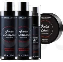 Beard Growth Shampoo Grooming Kit for Men - with Beard Wash and Conditioner - Best Beard Softener Set, Beard Balm, Beard Oil, Rapid Beard and Hair Growth (4oz)