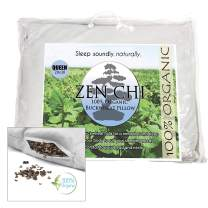 """ZEN CHI Organic Queen Size Buckwheat Pillow for Sleeping (20""""X30"""") w Natural Cooling Technology and All Cotton Cover w Organic Buckwheat Hulls"""