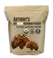 Anthony's Organic Red Reishi Mushroom Extract Powder, 6 oz, 4to1 Extract, Gluten Free, Non GMO