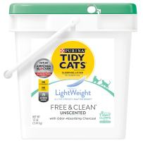 Purina Tidy Cats Light Weight, Low Dust, Clumping Cat Litter, LightWeight Free & Clean Unscented, Multi Cat Litter - 12 lb. Pail
