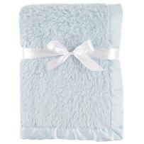 Hudson Baby Unisex Baby Sherpa Plush Blanket with Satin Binding, Powder Blue, One Size