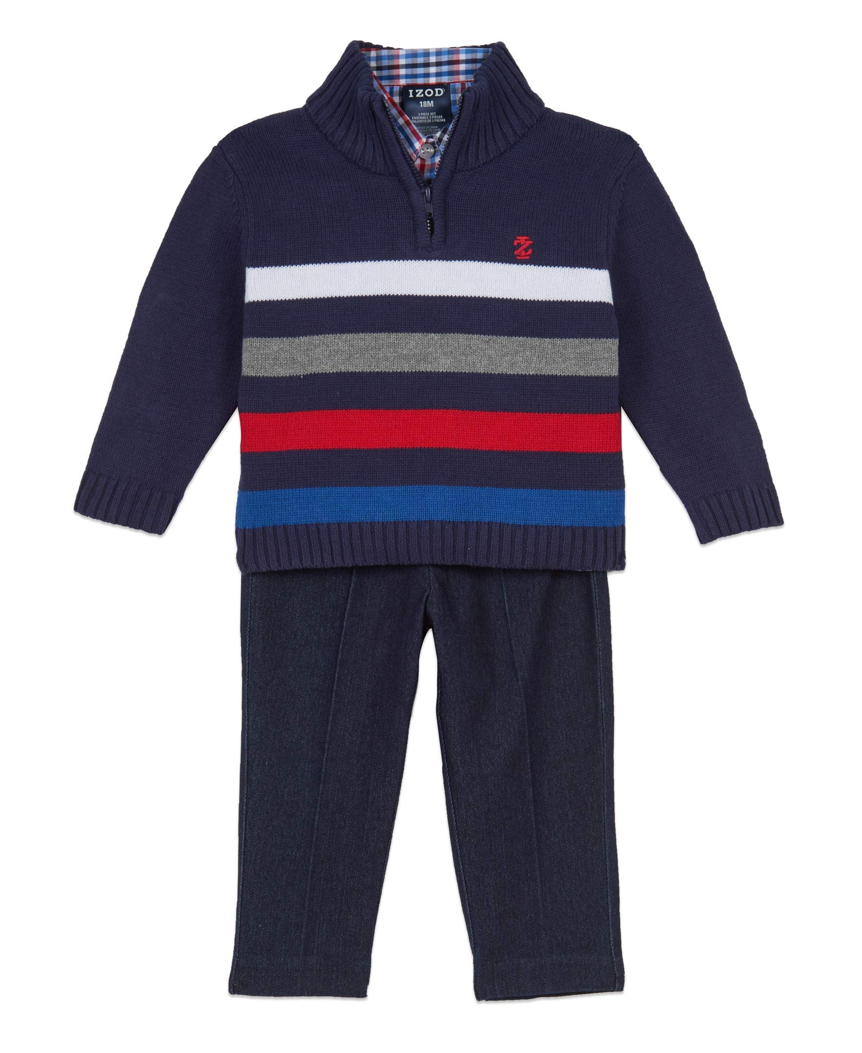 Izod Baby Boys 3-Piece Sweater, Dress Shirt, and Pants Set