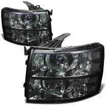 Pair of Smoked Housing Clear Corner Headlight Assembly Lamps Replacement for Chevy Silverado 1500 2500 3500 GMT900 07-14