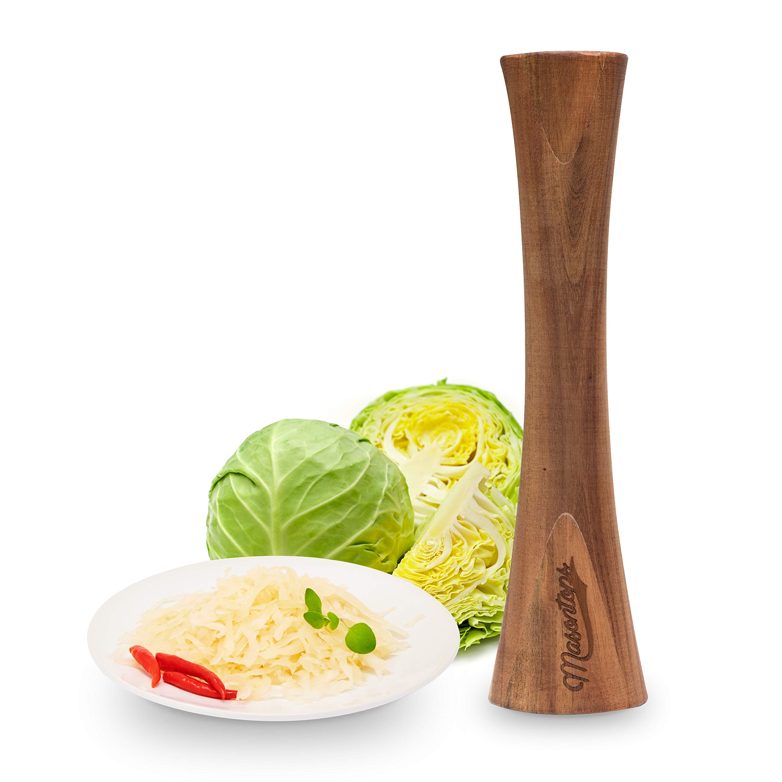 Masontops Pickle Packer - Acacia Wood Vegetable Fermentation Tamper - Cabbage Sauerkraut Pounder - Fermenting Food Tool