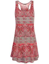 Hibelle Women's Scoop Neck Sleeveless Casual Printed Tank Dress with Pockets