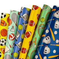 WRAPAHOLIC Gift Wrapping Paper Sheet - UV Printing Different Ball Patterns for Birthday, Holiday, Baby Shower - 1 Roll Contains 6 Sheets - 17.5 inch X 30 inch Per Sheet