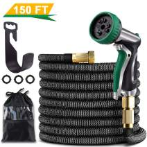 "GREATNAPAKA 150ft Garden Hose Expandable Water Hose, 3/4"" Solid Brass Fittings Flexible Garden Hose with 9 Function Metal Spray Nozzle Expanding Hose"