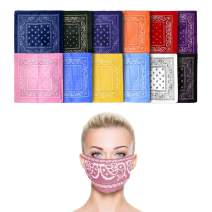 Fun Central 12 Pack Cloth Bandana   Face Mask for Dust & Sun Protection   Nose Cover Scarf - Assorted Colors