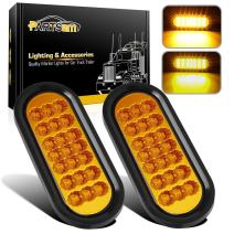 """Partsam 2Pcs 6-3/8"""" Oval Amber Led Trailer Lights 21 DIODE LED Turn Signal and Parking Light Kit Grommet Mount Sealed for Truck Trailer (Turn, Stop, and Tail Light) w/Reflectors"""