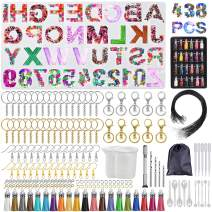 DIY Letter Resin Molds and Tools Kit, 438 Pcs Large Silicone Backward Number Alphabet Jewelry Resin Casting Molds with Resin Supplies, for Keychain Earring Necklace Pendant Jewellery Craft Making