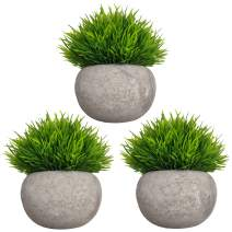 MIXCUTE Mini Artificial Plants 3 Pack Fake Plants Potted Faux Green Grass Topiary Shrubs with Pots for House, Farmhouse, Bathroom, Office, Home Decor