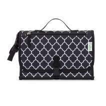 Baby Portable Changing Pad, Diaper Bag, Travel Mat Station, Large Black Pattern
