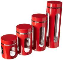 Home Basics 4-Piece Glass Canister Cylinder Set with Clear Window (Red)