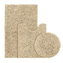BYSURE Beige Bathroom Rug Set 3 Piece, Bath Rugs Toilet Rugs and Mats Sets, Extra Absorbent Shaggy Chenille Bathroom Mat Set Soft & Dry Bathroom Rugs Sets and Mats Sets Non Slip Washable Rugs