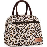 BALORAY Lunch Bags for Women Lunch Tote Cooler Bag with 2 Side Pocket Leak-proof Liner Insulated Lunch Box Lunch Bags for women/Picnic/Boating/Beach/Fishing/Work (Beige with leopard)