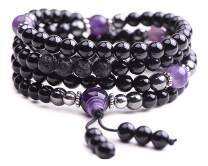 TamLyn Concepts Prayer Beads with Black Onyx and Lava Rock for Aromatherapy - Japa Mala Beads Necklace for Meditation and Grounding - Anxiety Bracelet - Includes Bonus Remote Reiki Healing Attunement