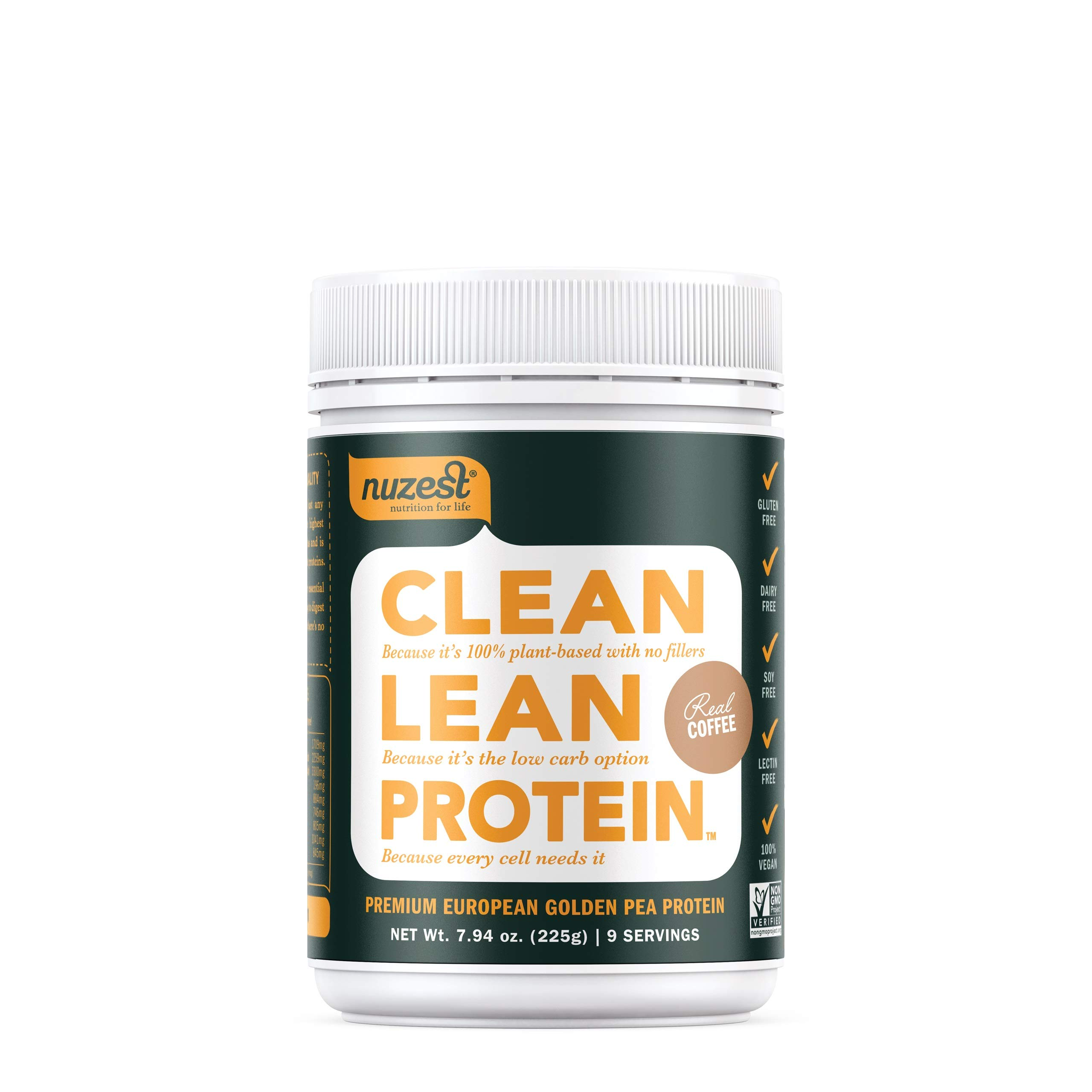 Nuzest Clean Lean Protein - Premium Vegan Protein Powder, Plant Protein Powder, European Golden Pea Protein, Dairy Free, Gluten Free, GMO Free, Naturally Sweetened, Real Coffee, 9 Servings, 7.9 oz