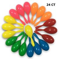 24 Pack Maracas Kids Mini Maracas Party Favors Neon Mexican Maracas Shakers Noisemaker for Cinco de Mayo Fiesta Mexican Themed Birthday Party Favor Supply Plastic 6 Neon Colors
