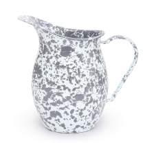 Enamelware Pitcher, 1.5 quart, Grey/White Splatter