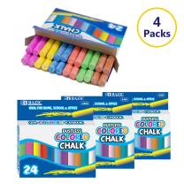 BAZIC Assorted Color Chalk, Standard Size Blackboard Chalkboard 6 Colors Chalks, Great Game Activity for Kids, Art Teacher Office Classroom Store Home (24 pcs/Pack), 4-Pack