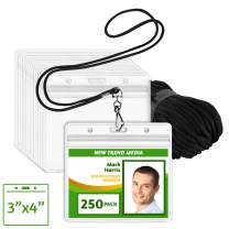 EcoEarth Lanyard with Horizontal ID Badge Holder (Black, 3x4, 250 Pack), Resealable Holder and Lanyards Set, Lanyard ID Card Holder Bulk, Name Badge Lanyard Set, Clear Plastic Badge Holder with Zipper