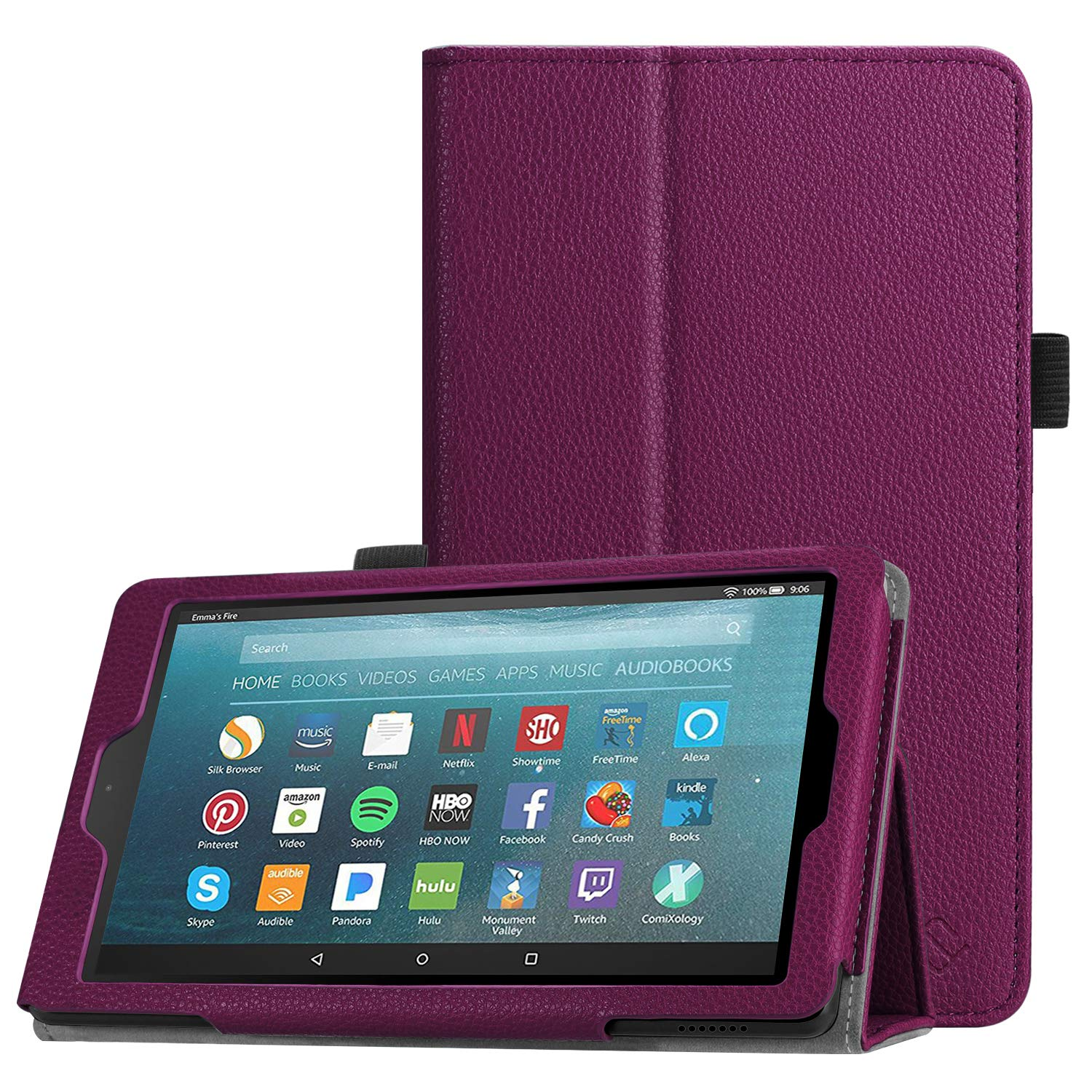 Fintie Folio Case for All-New Amazon Fire 7 Tablet (9th Generation, 2019 Release) - Slim Fit PU Leather Standing Protective Cover with Auto Wake/Sleep, Purple