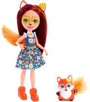 Enchantimals Felicity Fox Doll & Flick Figure, 6-inch small doll, with long brown hair, animal ears and furry tail, removable skirt and shoes, Gift for 3 to 8 Year Olds [Amazon Exclusive]