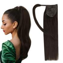 Easyouth Real Human Hair Clip on Ponytail Hair Extensions Color Darkest Brown Wrap Around Ponytail Hair Pieces Natural Straight Hair 16 Inch 80g