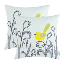 CaliTime Pack of 2 Soft Canvas Throw Pillow Covers Cases for Girls Couch Sofa Hand Drawing Cute Bird with Gray Sweet Tulip Floral Print 18 X 18 Inches Bright Yellow