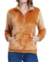 Kate Kasin Women Casual Double Fuzzy Fleece Quarter Zip Pullover Jacket Coat with Pockets