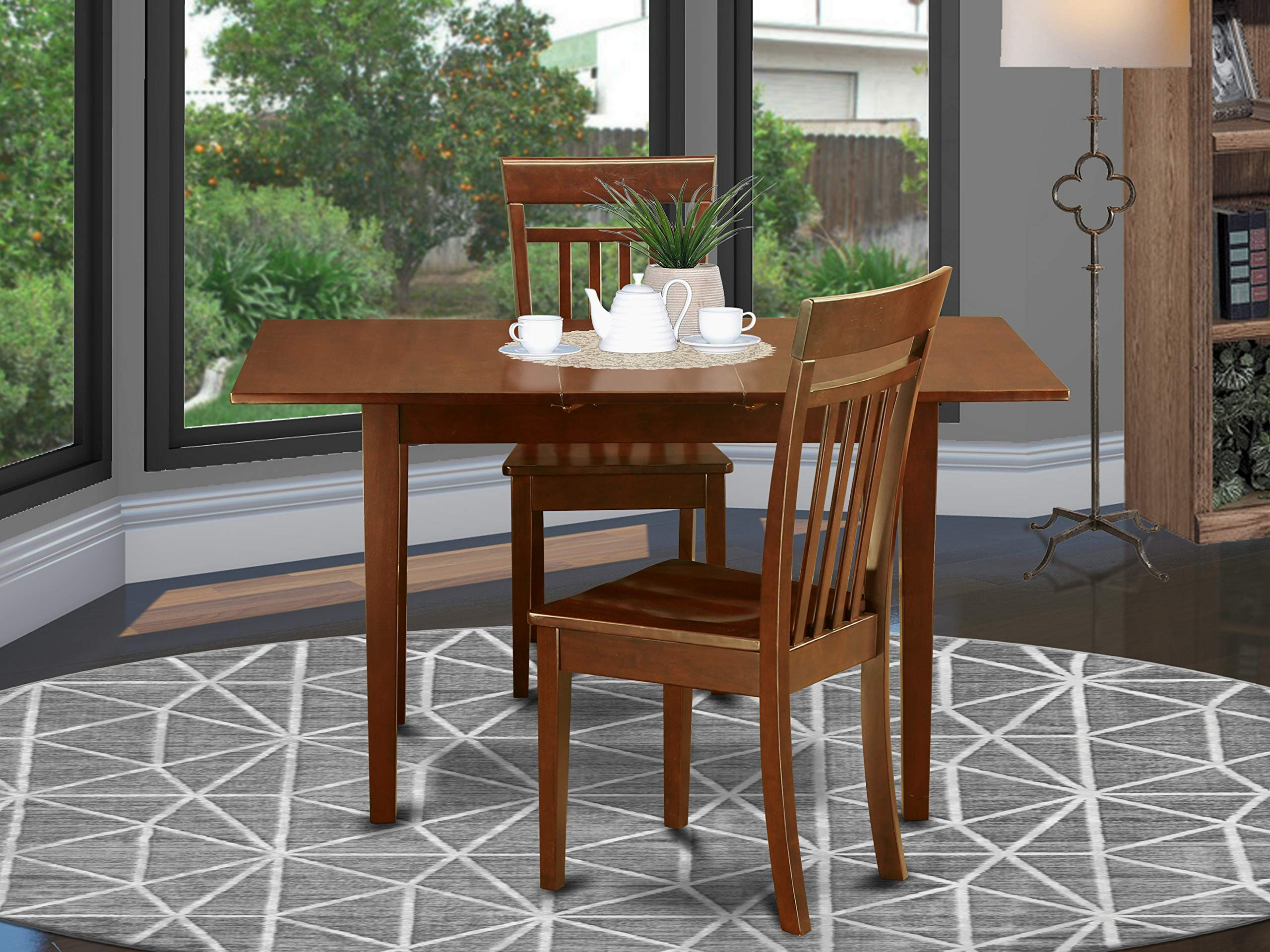 3 Pc Kitchen table set - Kitchen Table with Leaf and 2 Kitchen Dining Chairs