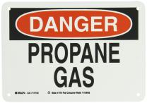 """Brady 116142 10"""" Width x 7"""" Height B-563 Plastic, Red And Black On White Color Sustainable Safety Sign, Legend """"Danger Propane Gas"""""""