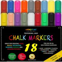 CHALK MARKERS & Pens - By Fantastic ChalkTastic MEGA 18 Pack BEST for Kids, Menu Board Bistro Boards - Glass & Window Erasable Marker Pen - Reversible 6mm Tip, Neon & Earth Colors, Gold & Silver