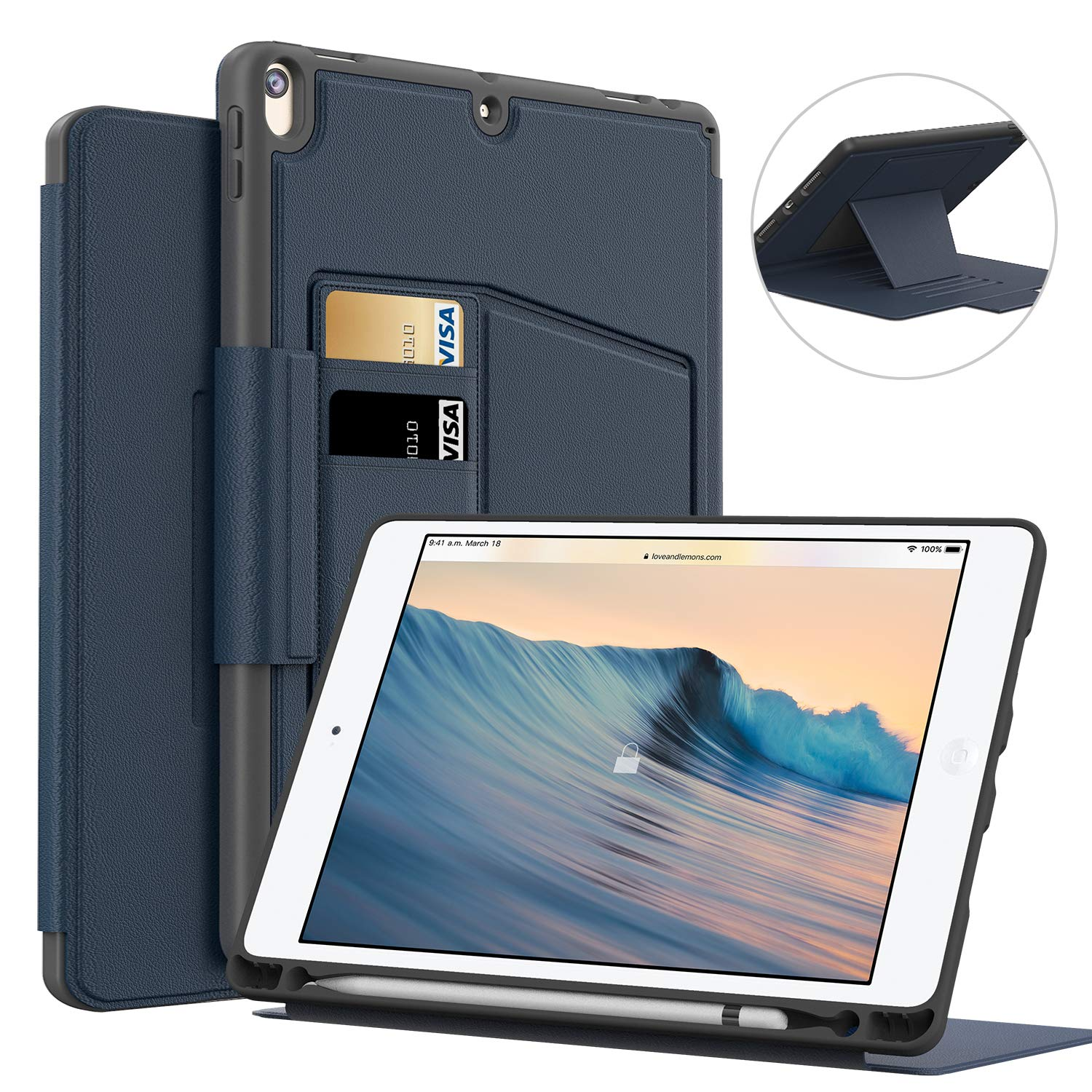 BeeFly iPad Air 10.5 Case, Protective Rugged Full Body Leather Shockproof with 8 Adjustable Magnetic Stand Pencil Holder Case for iPad 10.5 -Navy Blue