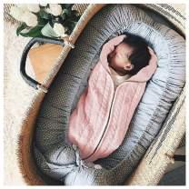 Unisex Newborn Baby Swaddle Blankets Infant Girls Boys Zip Up Nursery Blankets Wraps Sleeping Bag 0-6 M Baby Shower Gifts Light Pink