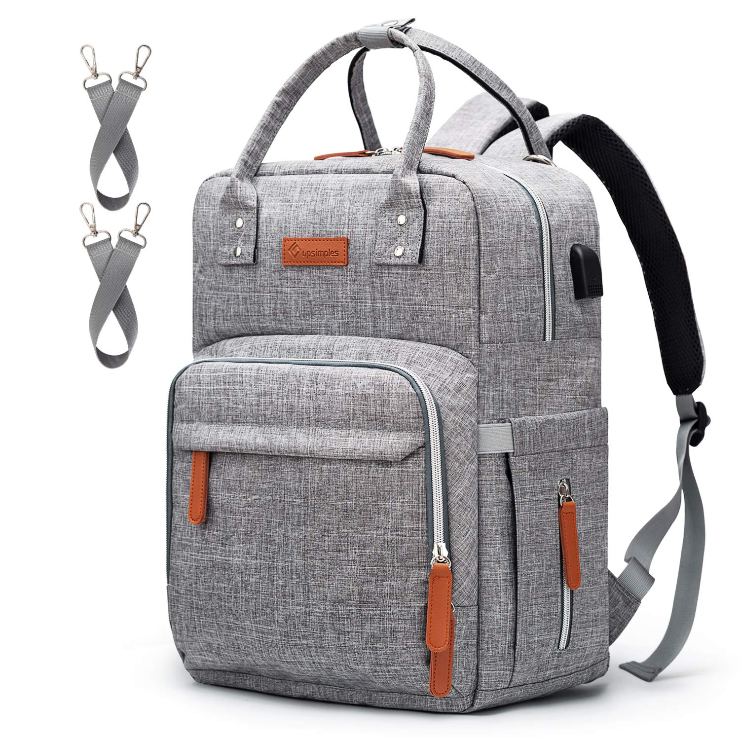 Diaper Bag Backpack Upsimples Multi-Function Maternity Nappy Bags for Mom&Dad, Baby Bag with Laptop Pocket,USB Charging Port,Stroller Straps -Light Grey