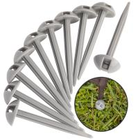 AdvenGO 10 Strong Polypropylene Stake Set for Grass, Soil - Anchoring Blankets, Patio Rugs, Camping Tents, Tarps, and RV Mats - Easy to Use, Outdoor Lawn and Garden Stakes - (Silver)
