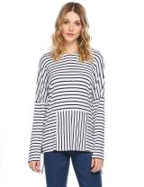 Zeagoo Women's Cotton Hoodie Long Sleeve Pocketed Stripe Comfy Sweatshirt Chic Blouse