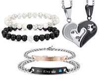 FIBO STEEL 6 Pcs Couple Necklace Bracelets Matching Set for Women Men Love Heart Pendant Necklace His & Hers Bracelets Couple Valentine's Gift