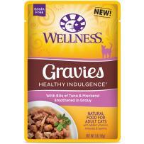 Wellness Healthy Indulgence Natural Grain Free Wet Cat Food Pouches Gravies Tuna & Mackeral