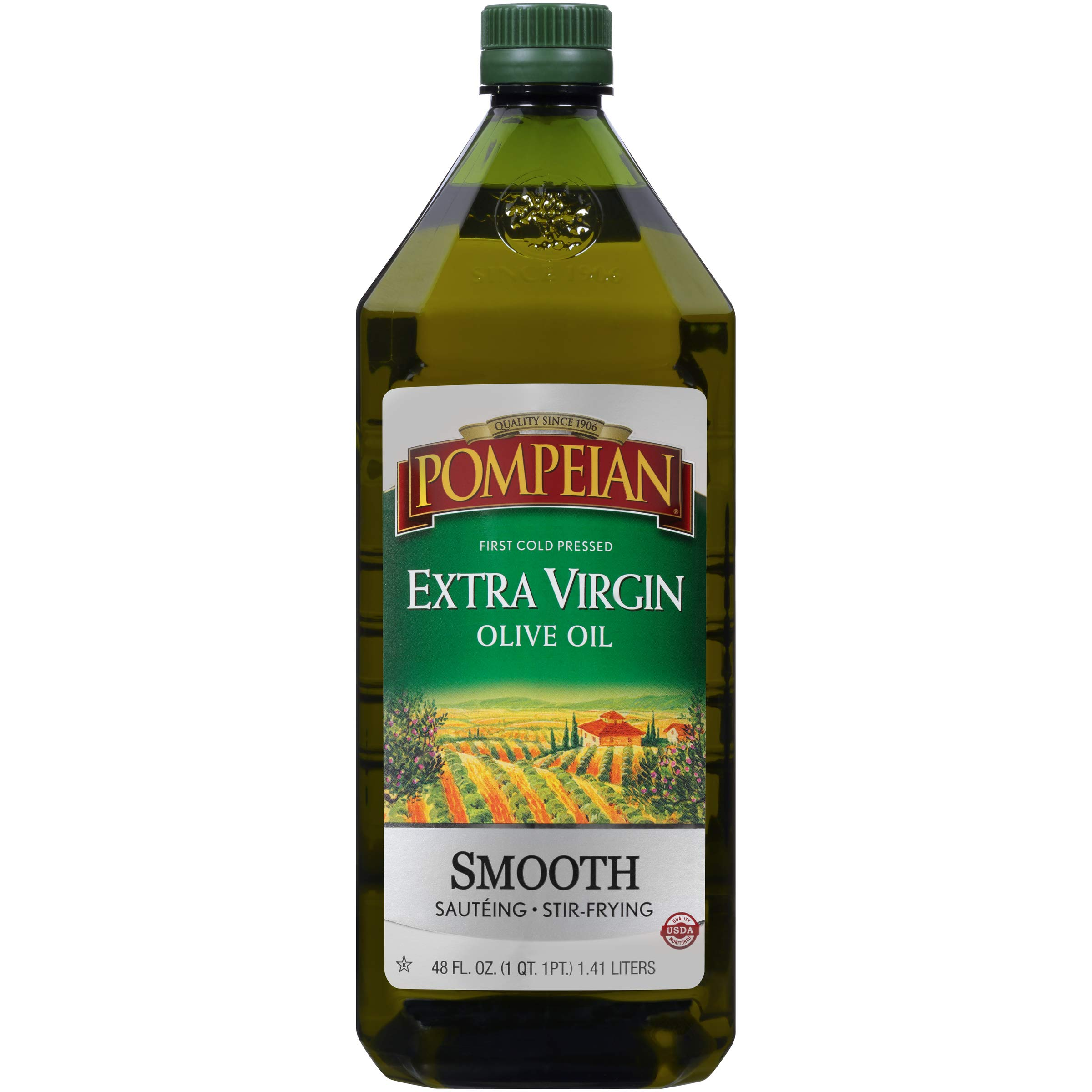 Pompeian Smooth Extra Virgin Olive Oil, First Cold Pressed, Mild and Delicate Flavor, Perfect for Sauteing and Stir-Frying, Naturally Gluten Free, Non-Allergenic, Non-GMO, 48 FL. OZ., Single Bottle