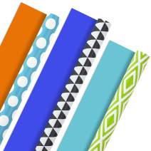Hallmark Reversible Wrapping Paper, Brights - Green, Gray, Teal Prints & Orange, Blue, Purple Solids (Pack of 3, 120 sq. ft. ttl.) for Birthdays, Easter, St. Patrick's Day, Baby Showers, Any Occasion