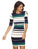 MAKEMECHIC Women's Striped Half Sleeve Zip Bodycon Pencil Dress