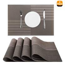 """Nuovoware Placemats, [4 PACK] 11.8"""" H x 17.7"""" W Premium Exquisite Crossweave Stain Resistant Heat-resistant Non-slip Textilene Woven Plaid Kitchen Table Dining Mat Pads Place Mats, Brown"""