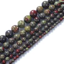 """Natural Stone Beads 10mm Dragon Blood Jasper Beads Round Loose Beads Crystal Energy Stone Healing Power for Jewelry Making DIY,1 Strand 15"""""""