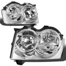 DNA Motoring HL-OH-057-CH-CL1 Chrome Housing Headlights Replacement For 05-07 Grand Cherokee
