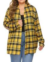 IN'VOLAND Women Plus Size Flannel Cardigans Buffalo Plaid Shirt Cardigan Long Sleeve Open Front Shirt with Pockets