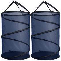 GANAMODA Collapsible Mesh Laundry Basket, Spiral Pop-up Hamper for Laundry, Dorm, Home - Thicken to Avert Fissuration, Reinforced Handles and Nylon Bottom, Blue, 2 Pack