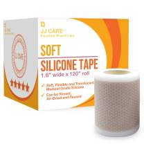 """JJ CARE [Advanced] Soft Silicone Tape (1.6"""" x 120"""" Roll) Medical Silicone Tape for Scar Treatment, Soft Silicone Scar Tape for Keloids, Latex-Free Gel Tape, Medical Silicone Tape for Surgery Scars"""